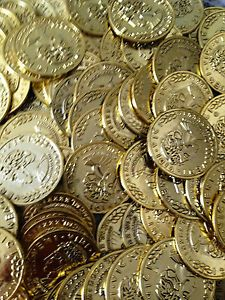$30 free ship 700 Gold Play Coins Treasure Birthday Party Favor Loot Golden Pirate Pinata Bulk