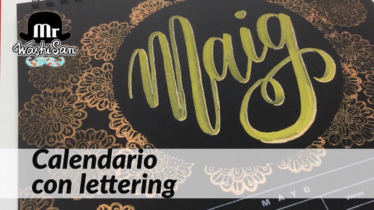 Calendario con lettering Mayo (Maig) con Corona estampada y kuretake fudebiyori