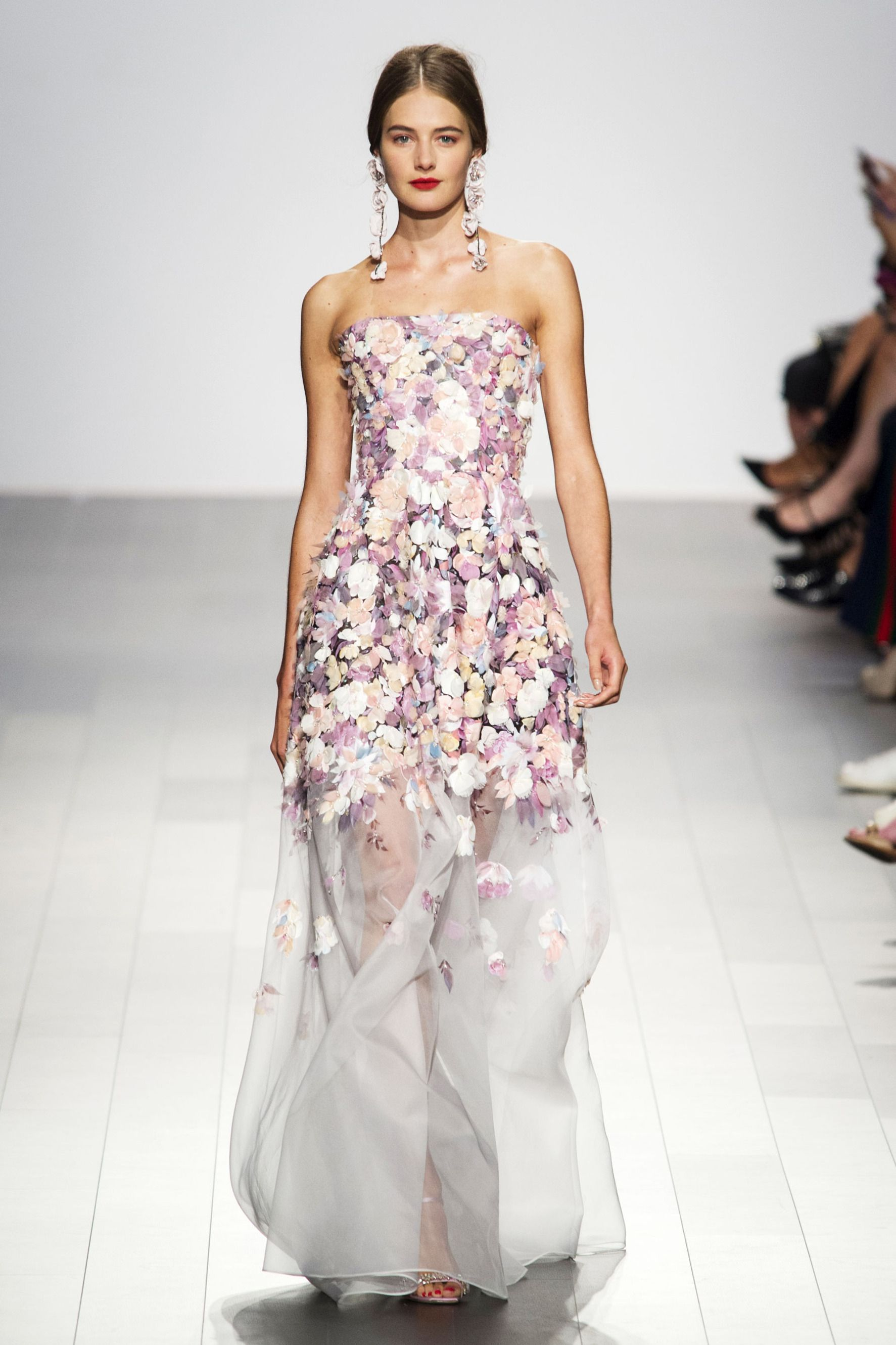 Couture Pink Strapless Floral Evening Gown, Pink Multi | Badgley ...