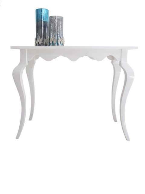 White High Gloss Lacquered Designer Console Table. Carved From Mahogany.  Unusual In Design And