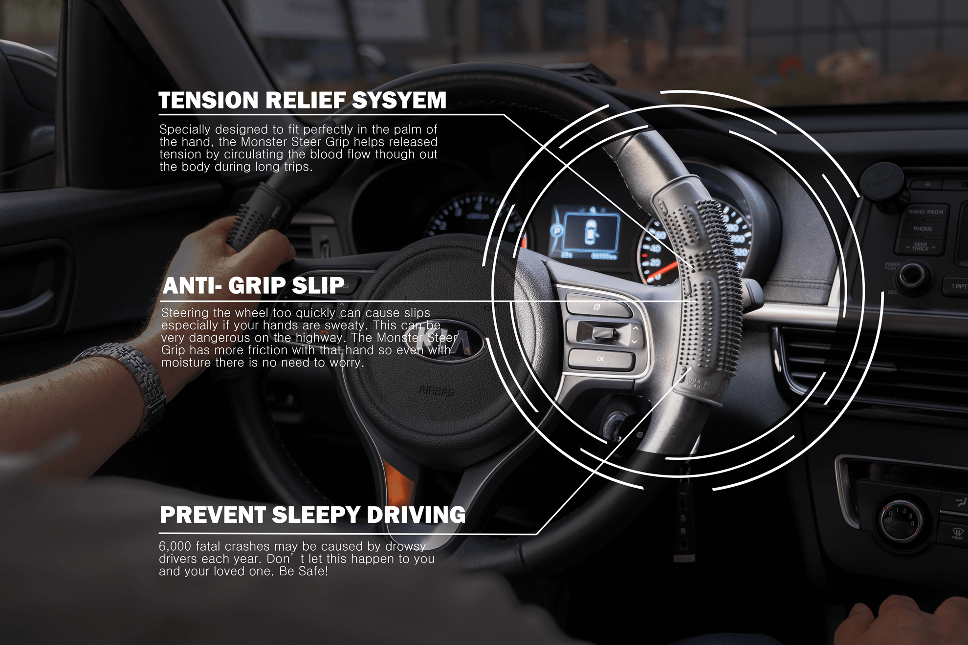 Introducing The Monster Grip An Anti Slip Sleep Prevention Grip For Long Term Drivers Drowsy Driving Massage Therapy Techniques How To Fall Asleep