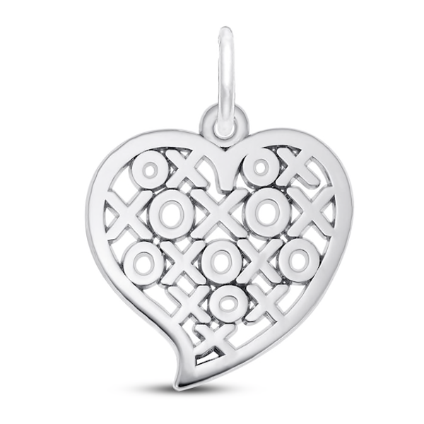Hugs And Kisses Charm Sterling Silver Heart Sterling Silver Silver