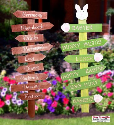 DIY Directional Signs for Weddings, Easter, or your Herb Garden! Supplies available at our Ben Franklin Crafts store in Monroe, WA. 360-794-6745
