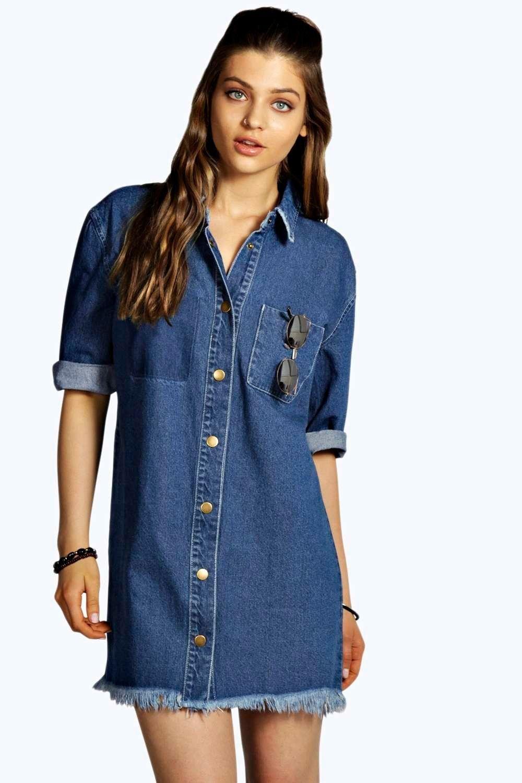 9ba8d63e597 Jade Denim Fringed Shirt Dress