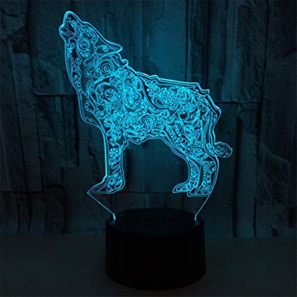 Amazon Com Beigu 3d Illusion Table Lamp Visual Lamps Wolf With Base 7 Colors Changing Home Decoration For Boy Child Gatew 3d Illusions Illusions Color Change