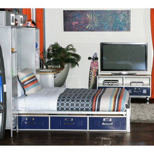 Mix Nu0027 Match Locker Twin Bed With Storage, Blue Panels