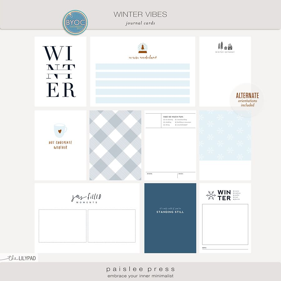 Photo of Winter Vibes Journal Cards by paislee press