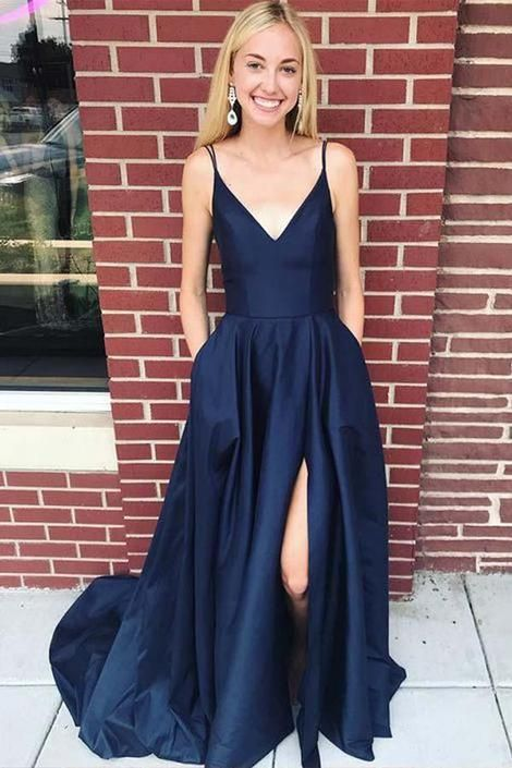 Navy Prom Dress with Slit, Evening Dress ,Winter Formal Dress, Pageant Dance Dresses, Graduation School Party Gown -   18 dress Winter party ideas