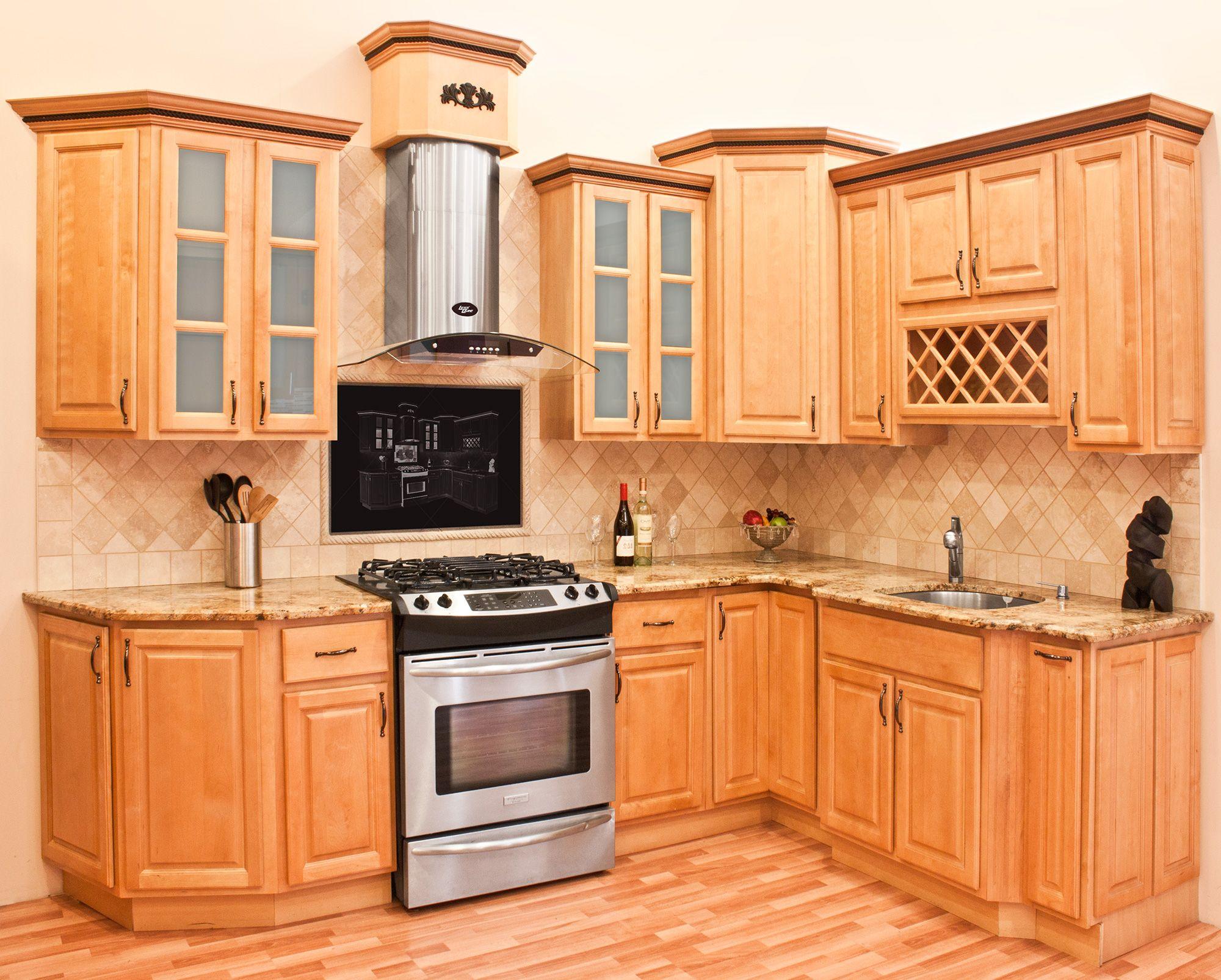 backsplash for kitchen with honey oak Google