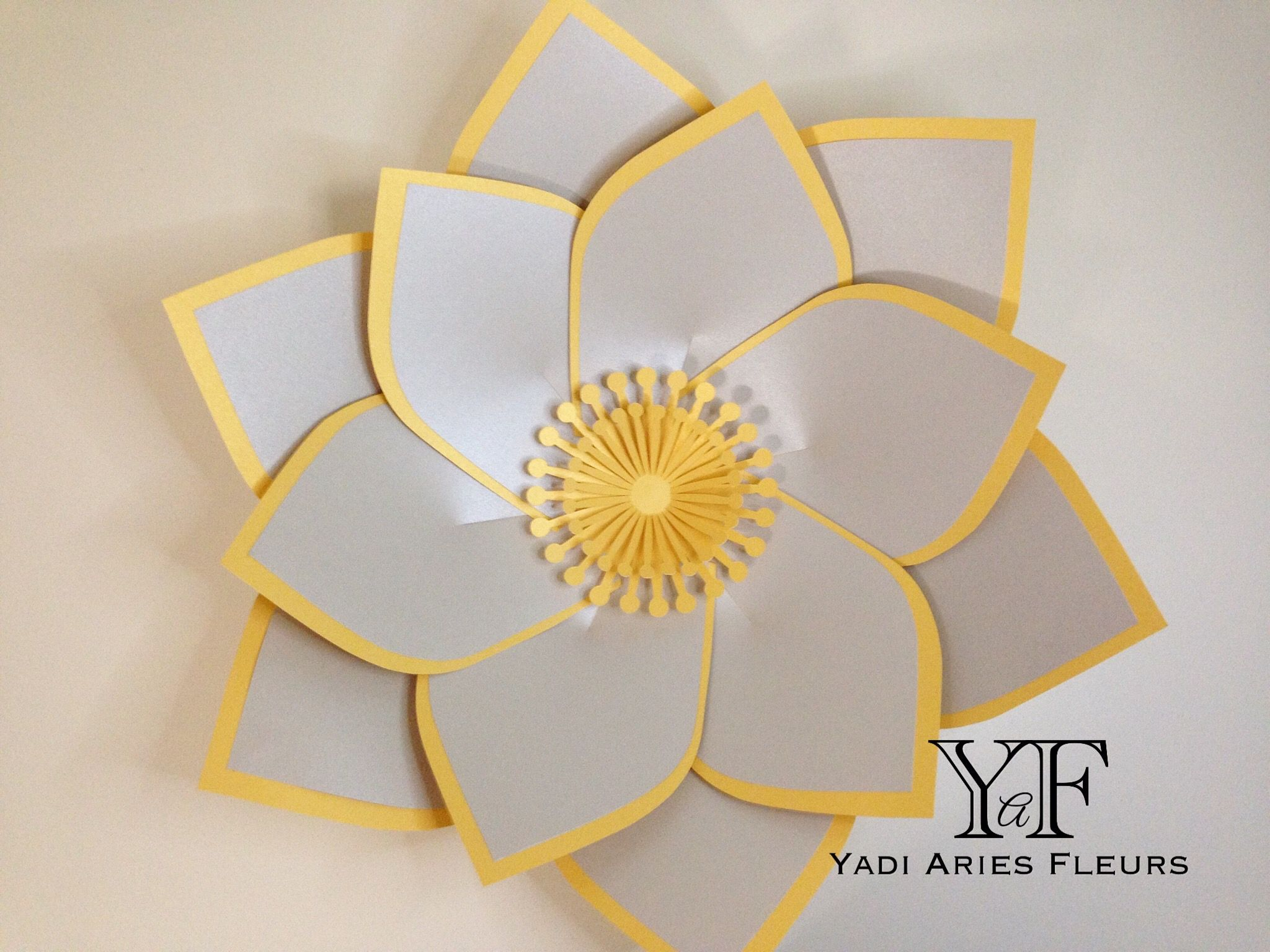 Paper flower template #25 in silver and gold shimmery card stock for ...