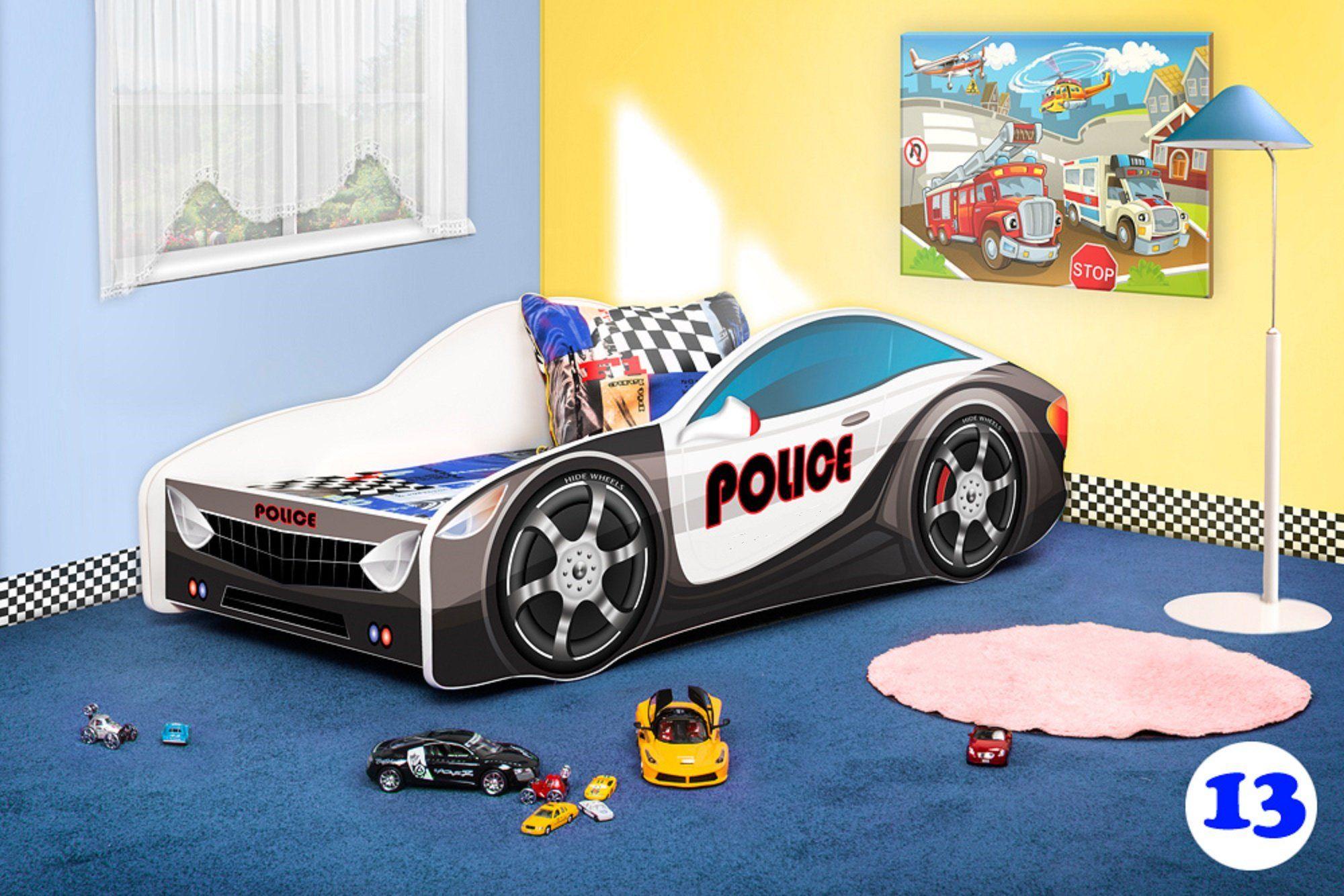 Police Car Twin Platform Bed Frame For Children Boys S Kids Bedroom Furniture