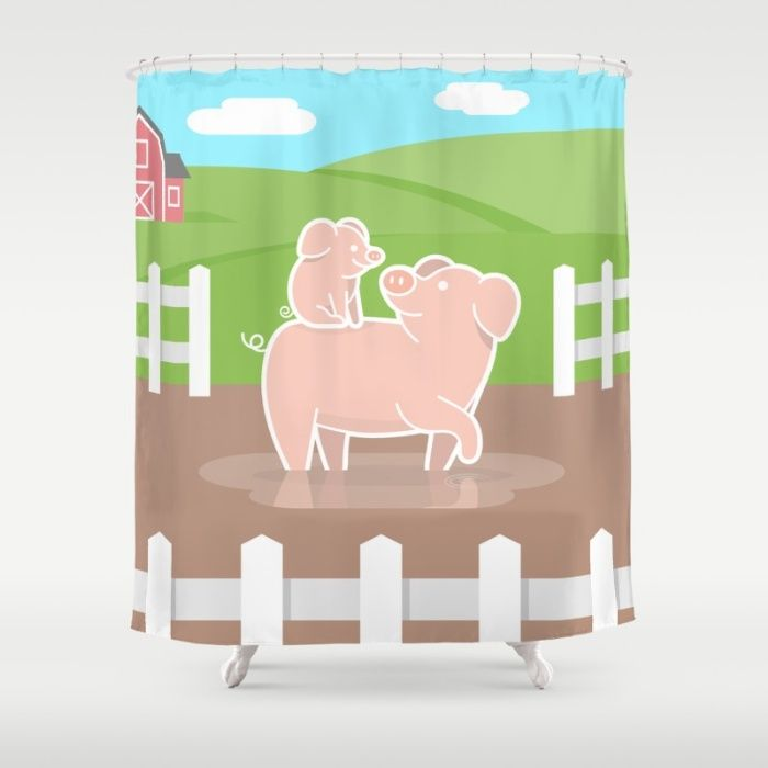 Piggyback Shower Curtain Pig Pigs Piggy Piggies Piglet