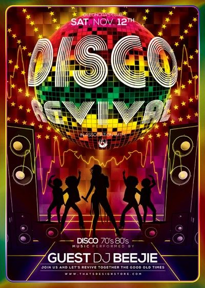 Disco Revival Flyer Template Flyer Template Template And Psd