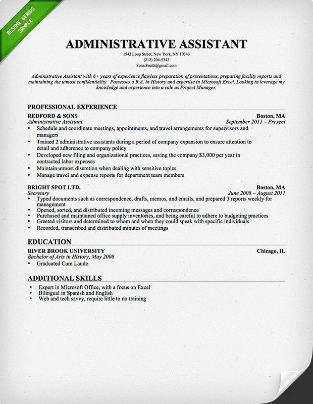 administrative assistant amp executive cover letter samples resume - Administrative Professional Resume