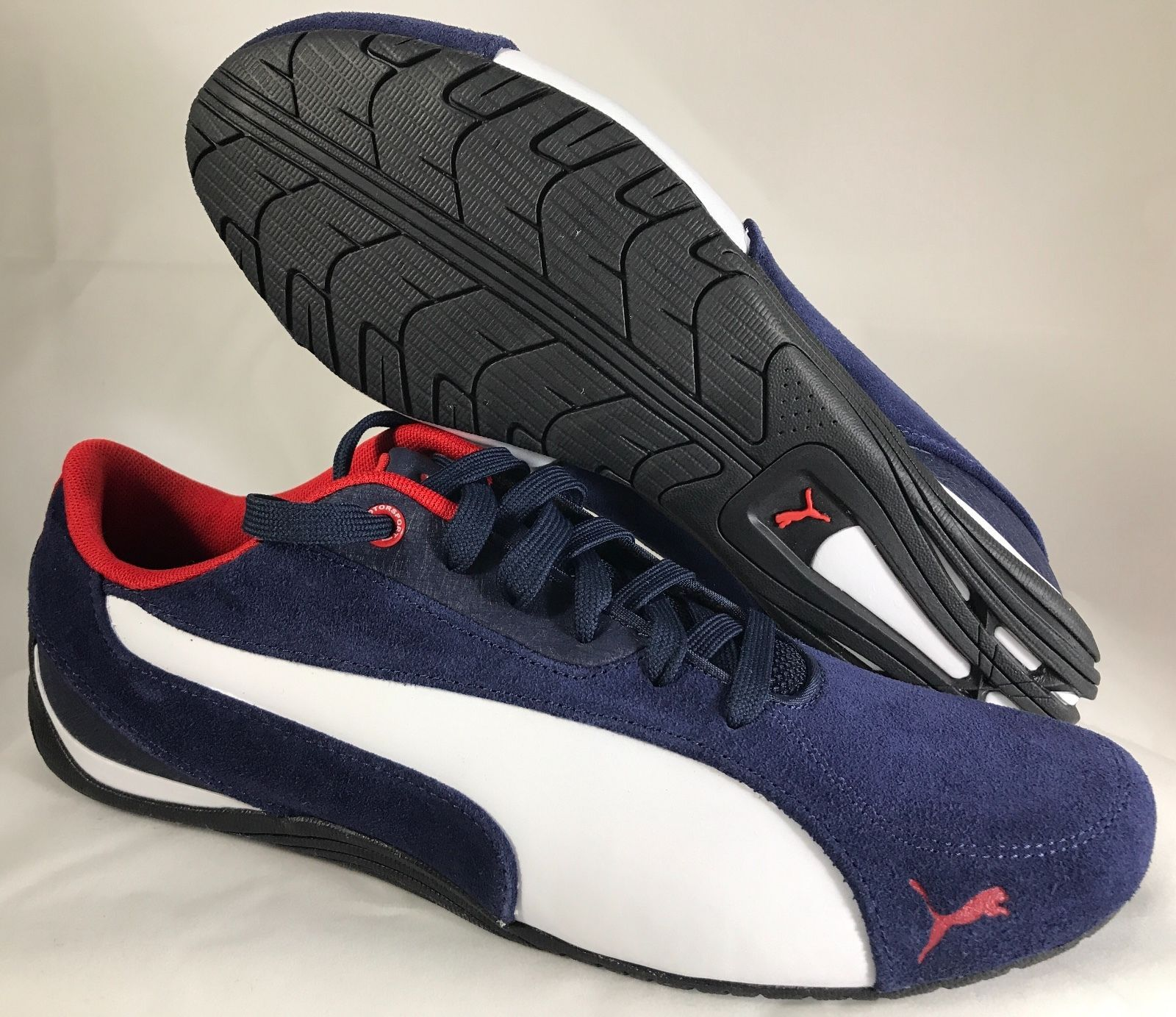 New PUMA Drift Cat 5 NM 2 Mens Shoes Suede Peacoat White Sneakers Motorsport