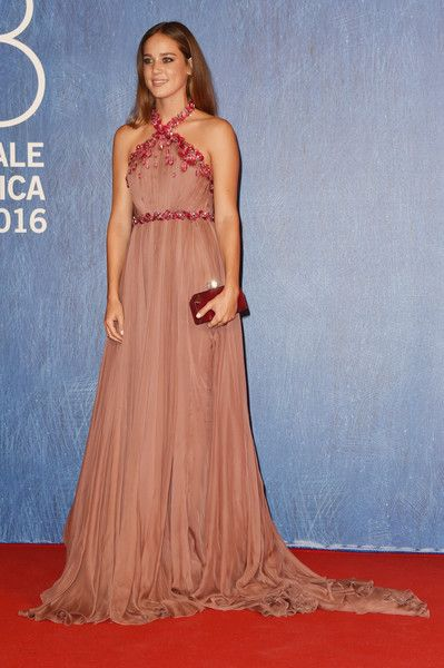 Matilda Lutz Halter Dress - Matilda Lutz made a head-turning entrance in a mauve Miu Miu halter gown with an embellished waist and shoulder straps during the Venice Film Fest premiere of 'Summertime.'
