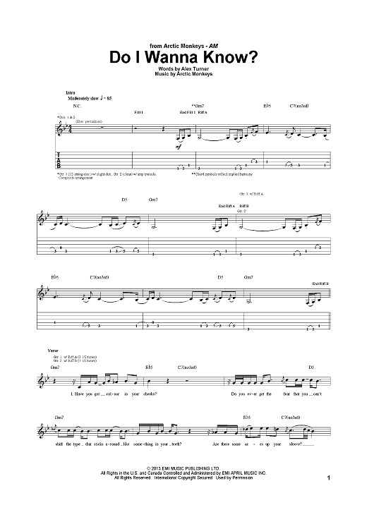 Do I Wanna Know Sheet Music By Arctic Monkeys Sheet Music Pianos