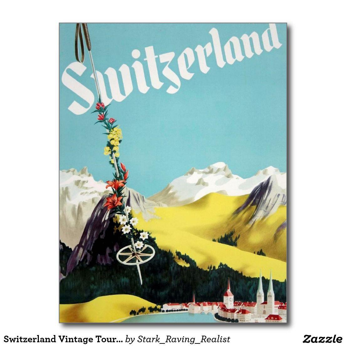 Switzerland Vintage Tourism Travel Ad Postcard