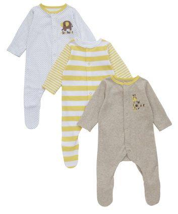 Mothercare Giraffe Sleepsuits - 3 Pack  a97fd3a50