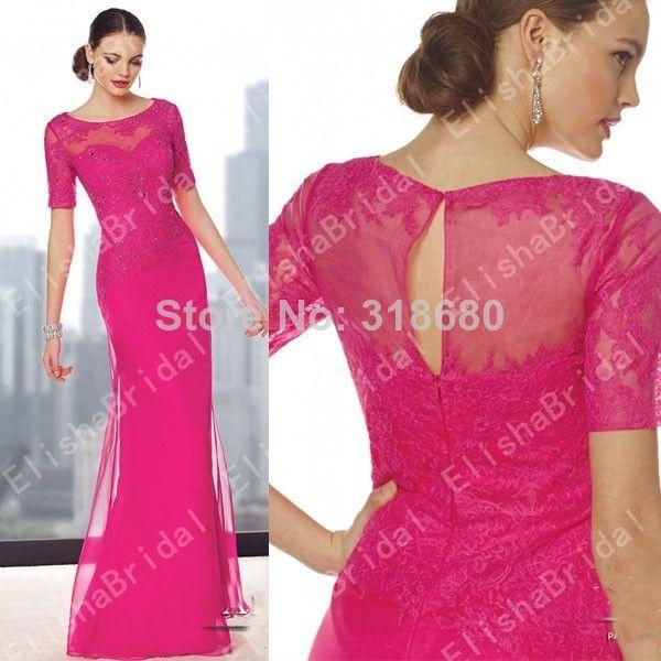 Latest Design Boat Neckline Short Sleeve Keyhole Back Lace Bodice Hot Pink Long Evening Dresses vestidos mae da noiva 2014 US $139.00