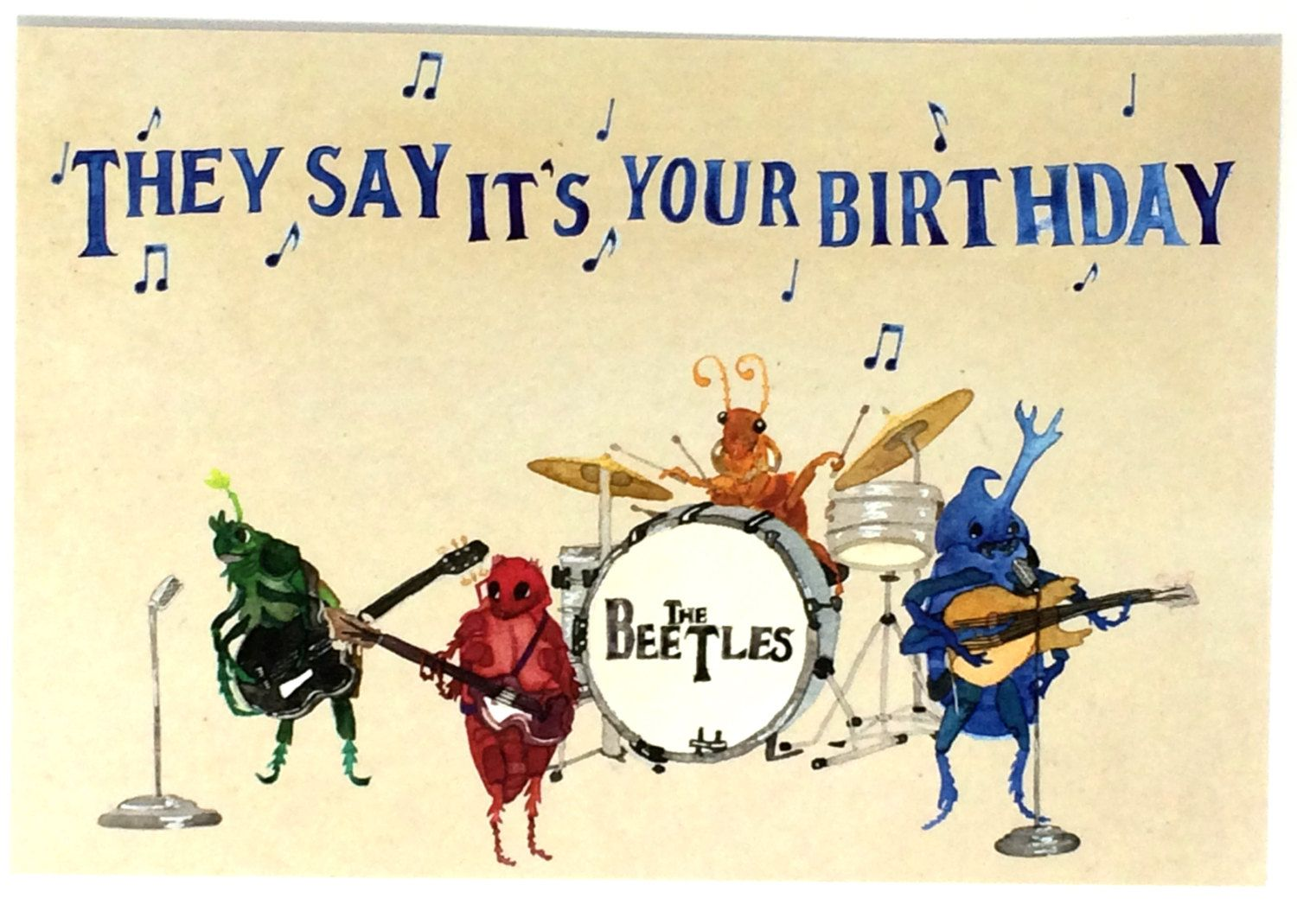 Pack of funny beatles happy birthday postcards ten