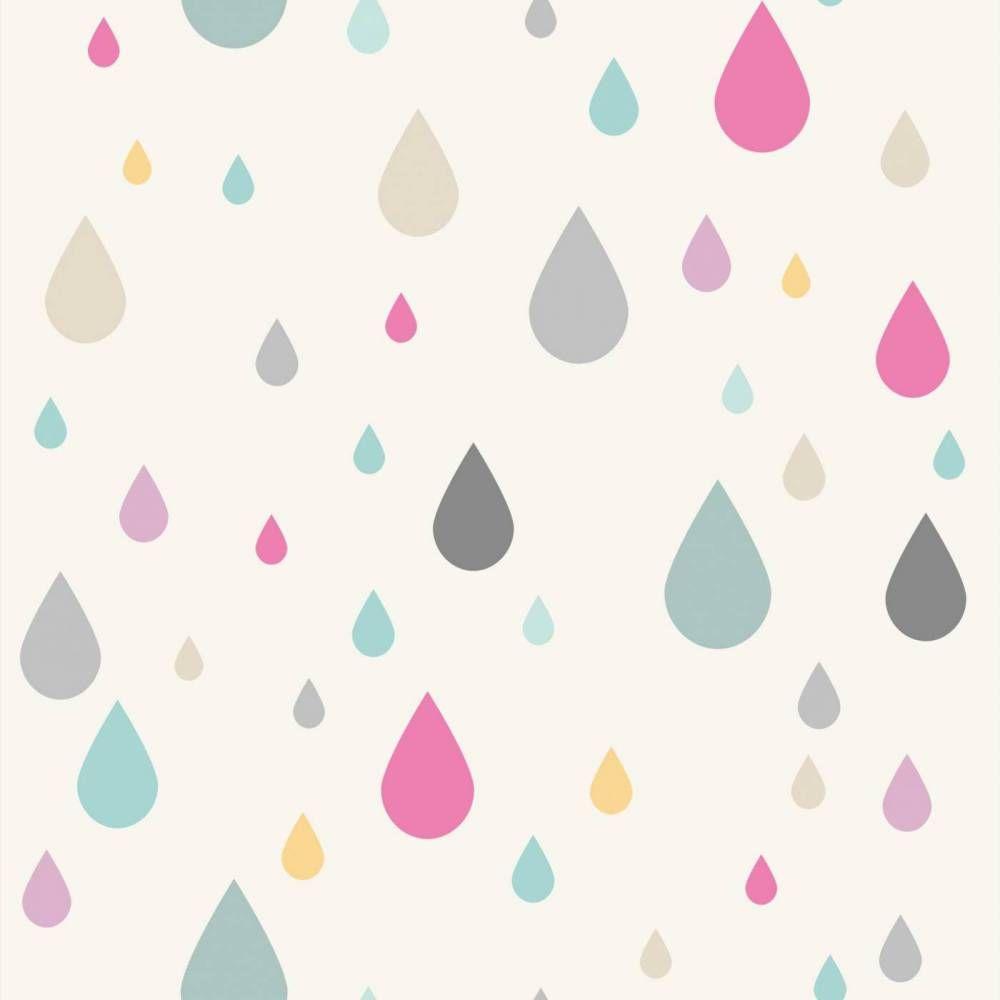 Papel de parede infantil c u e espa o gotas em cores azul bege rosa laranja e cinza pa7797 for Papel pared infantil