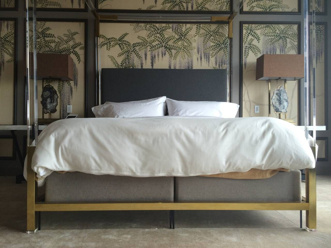 Brass and Lucite KingSize Bed by Charles Hollis Jones