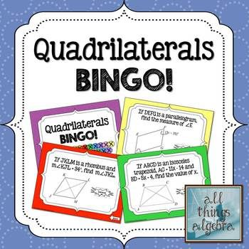 Quadrilaterals Bingo Game Includes Parallelograms Rectangles