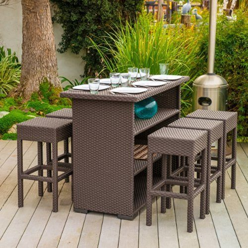 Best Choice Products 3pc Wicker Bar Set Patio Outdoor Backyard Table 2 Stools Rattan Garden