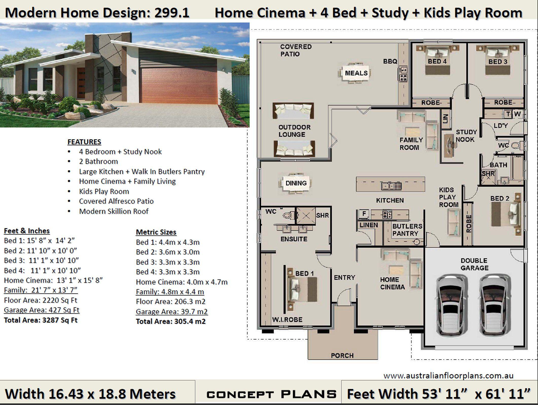 Modern Skillion Roof 4 Bedroom House Plans 299 1 Concept House Plan Set Bedroom House Plans 4 Bedroom House Plans House Plans