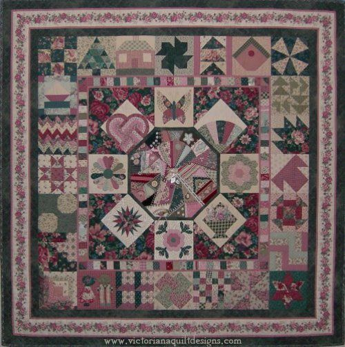 The Sampler Quilt Pattern. Exclusively from Victoriana Quilt Designs here: http://www.victorianaquiltdesigns.com/VictorianaQuilters/PatternPage/TheSampler/TheSampler.htm #quilting