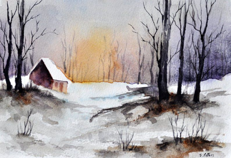 Original Watercolor Painting Winter Landscape Wooden Cabin Etsy