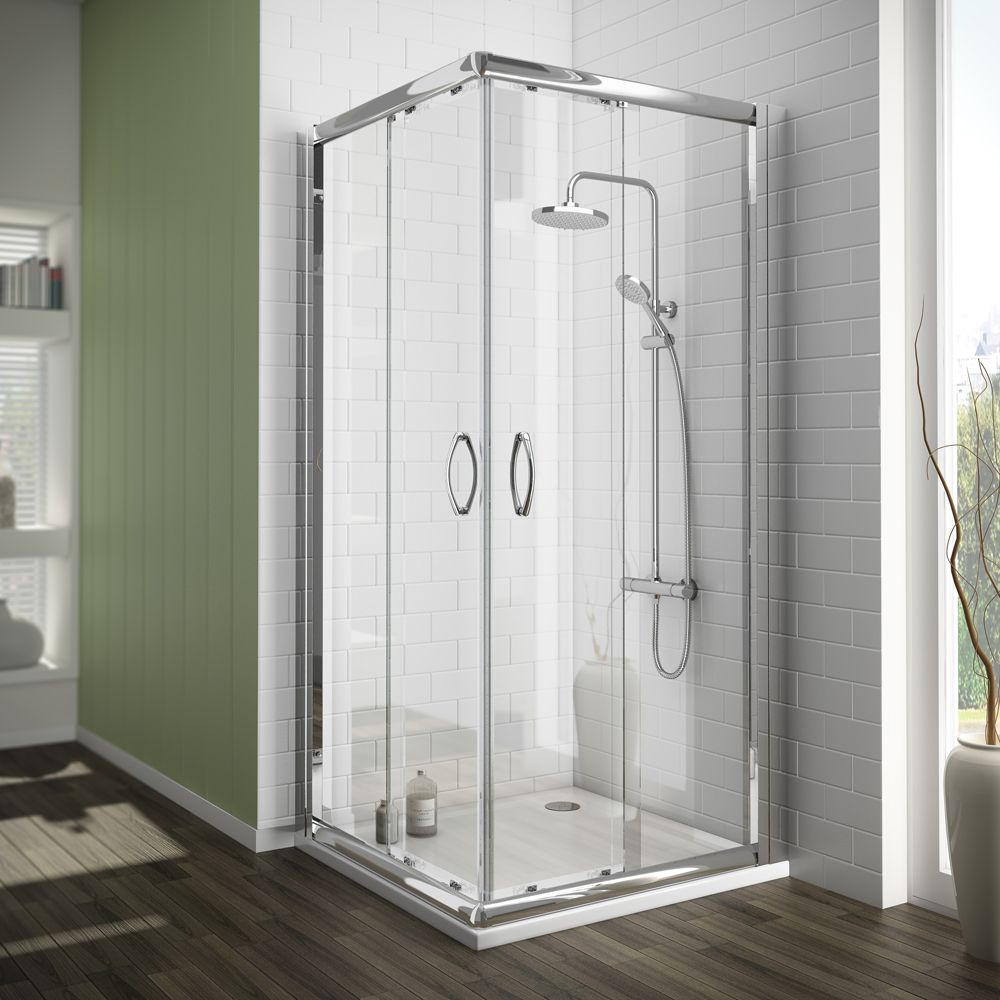 Newark Corner Entry Shower Enclosure + Pearlstone Tray (760x760mm ...