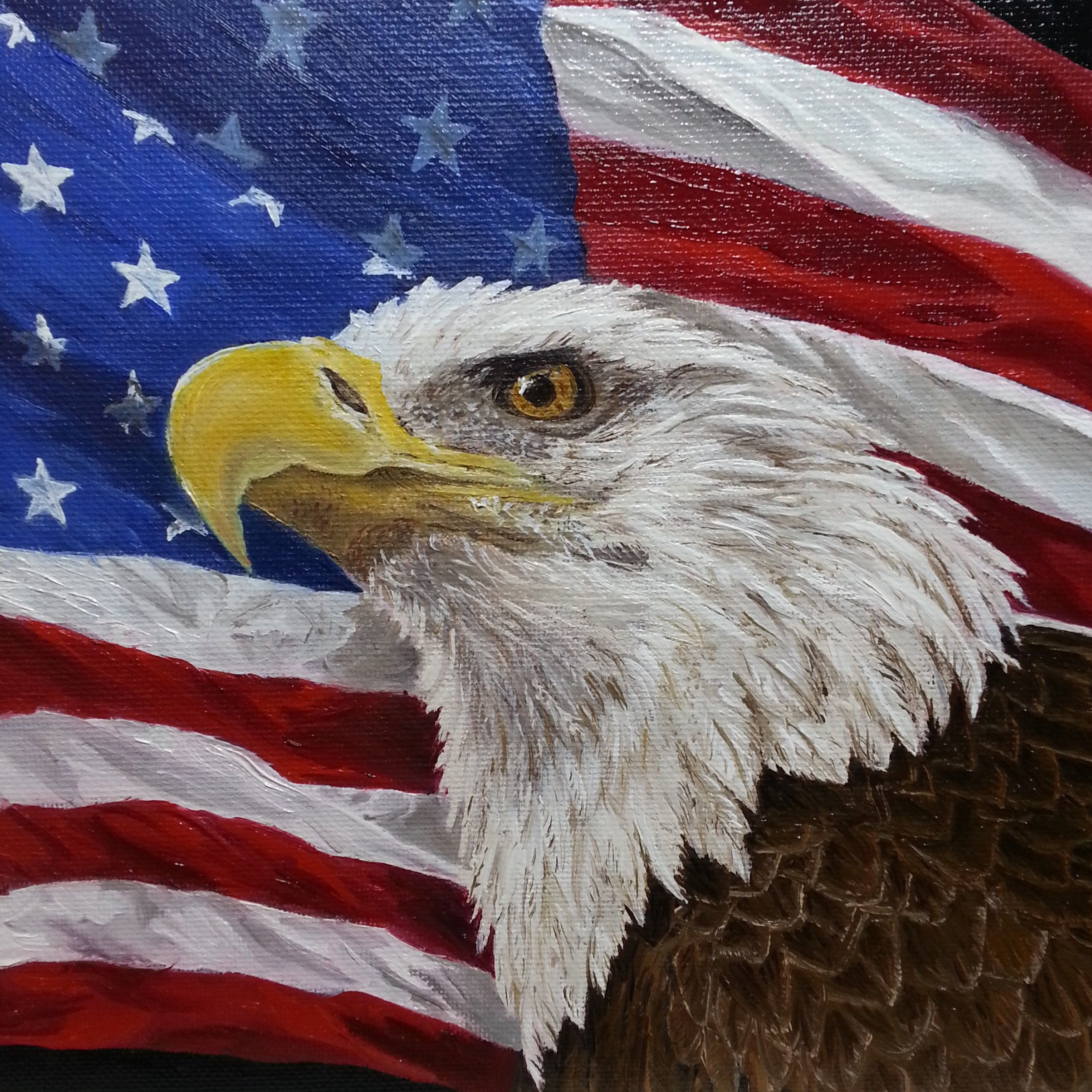 Eagle Art Eagle With American Flag Eagle Oil Painting Military Art Eagle Painting Military Art American Flag Art