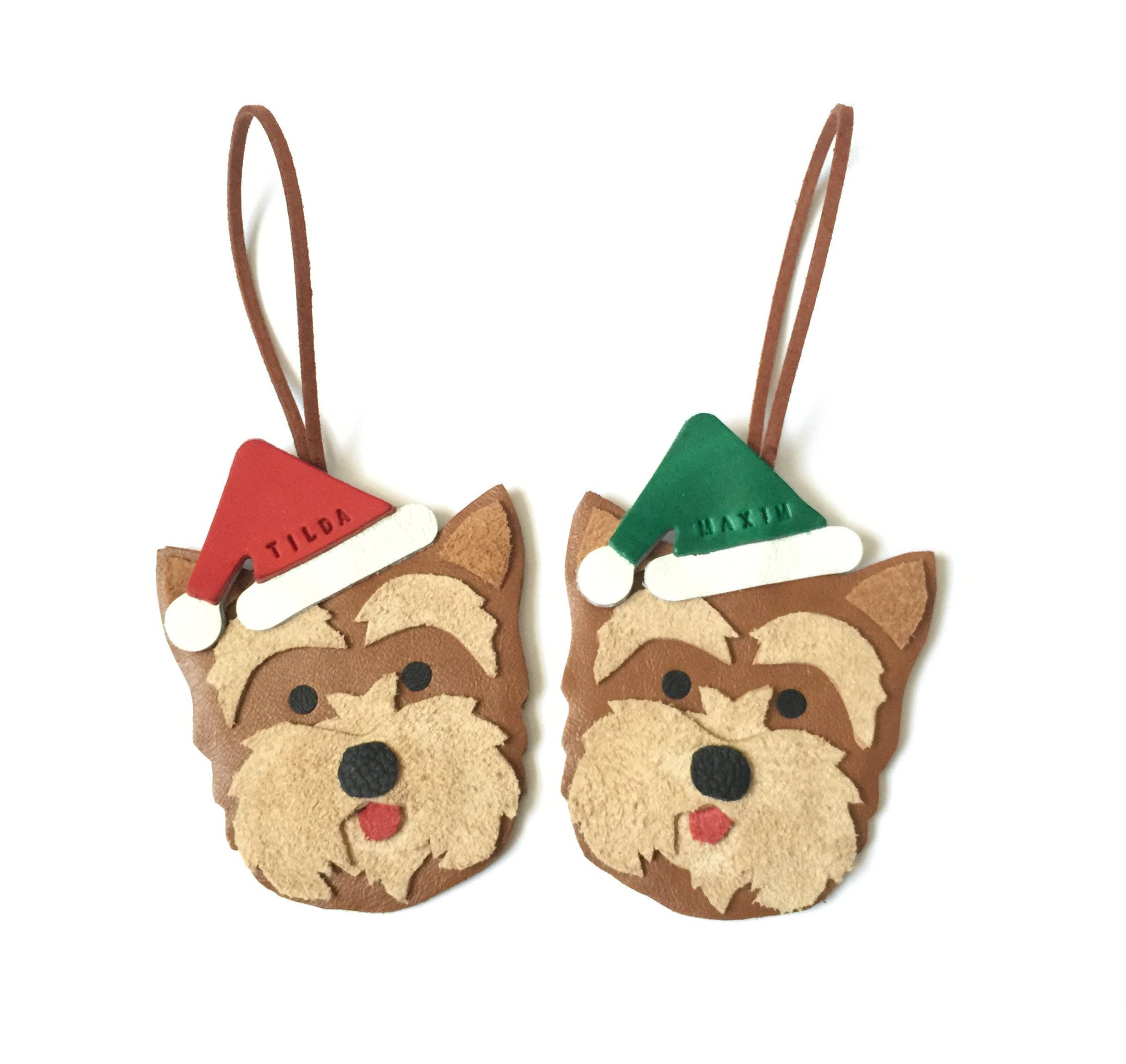 Yorkshire Terrier Christmas Ornament Personalised Leather