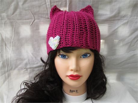bf7834e9360 Color - Purple Gorgeous structured item. Fashionable style and color. Cat  ears beanie . Handmade Winter Fashion. This crochet cat hat ...