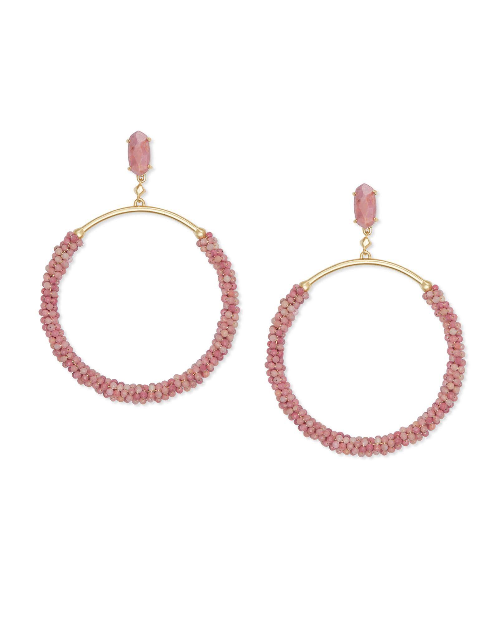 Russel gold hoop earrings in pink rhodonite goldhoopearrings