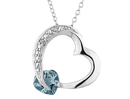 Created aquamarine heart pendant necklace with diamond accent 110 created aquamarine heart pendant necklace with diamond accent 110 carat ctw in sterling silver with chain aloadofball Image collections