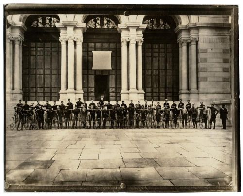 Bicyclists In Front Of Memorial Hall Built For The 1876
