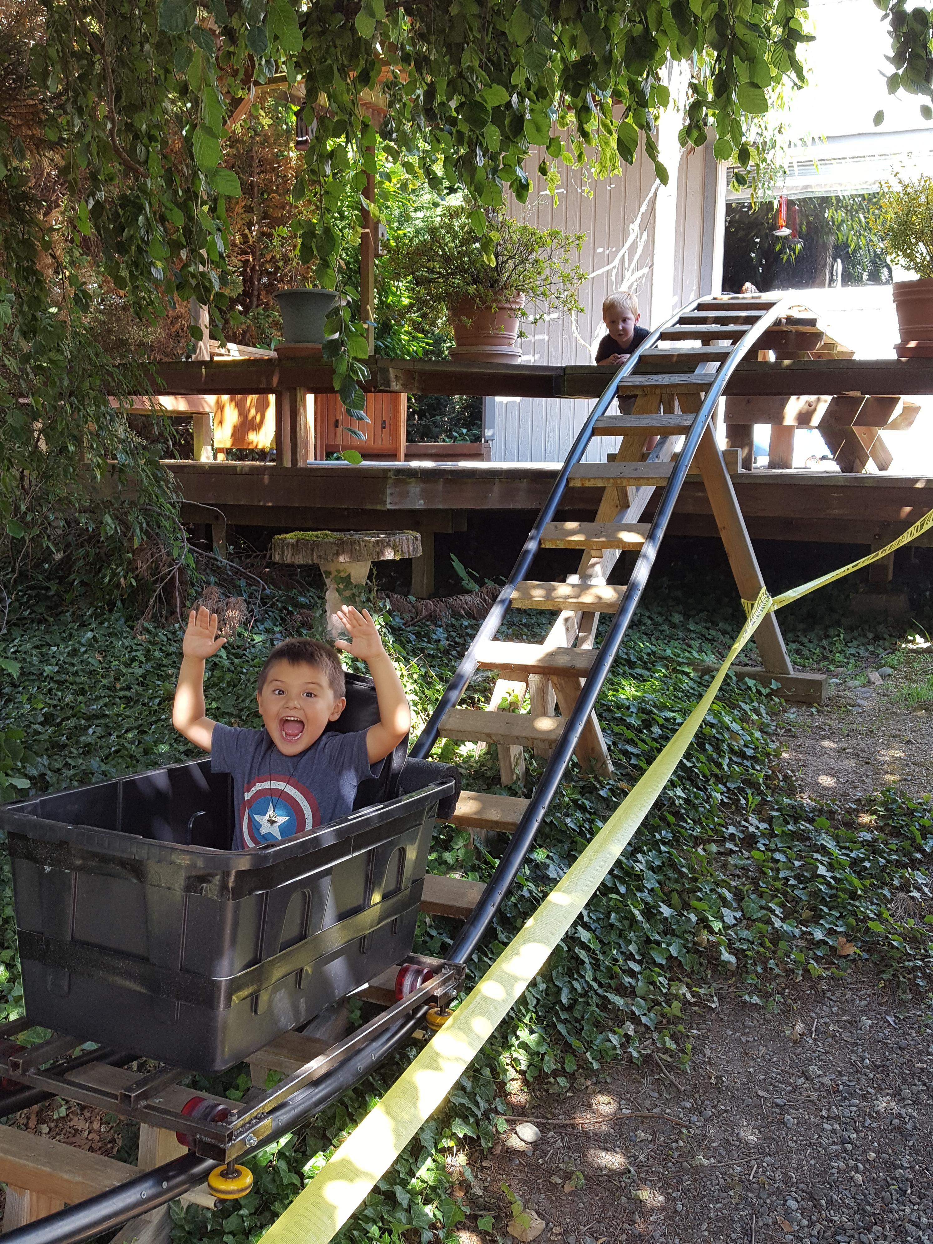 R Diy Out N Back Negative G Backyard Roller Coaster Backyard Playground Diy Playground Backyard Play Diy backyard roller coaster kit