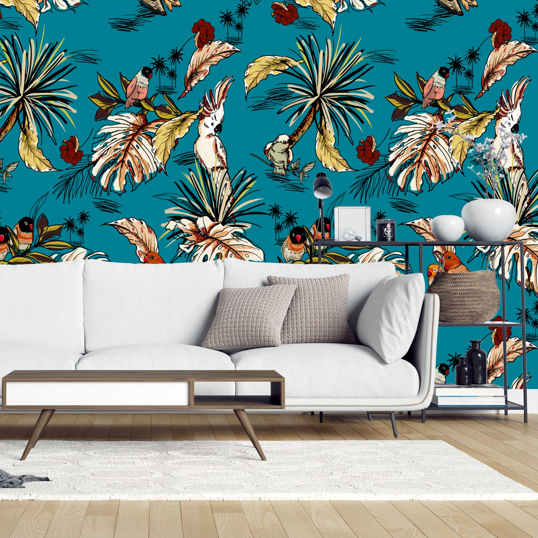 Removable Wallpaper Vintage Retro Tropical Parrots Etsy Home Decor Creative Home Decor Removable Wallpaper