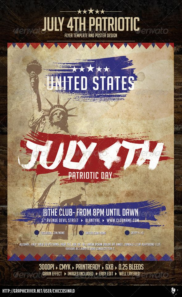 July Patriotic 4th Flyer Template Flyer template - labour day flyer template