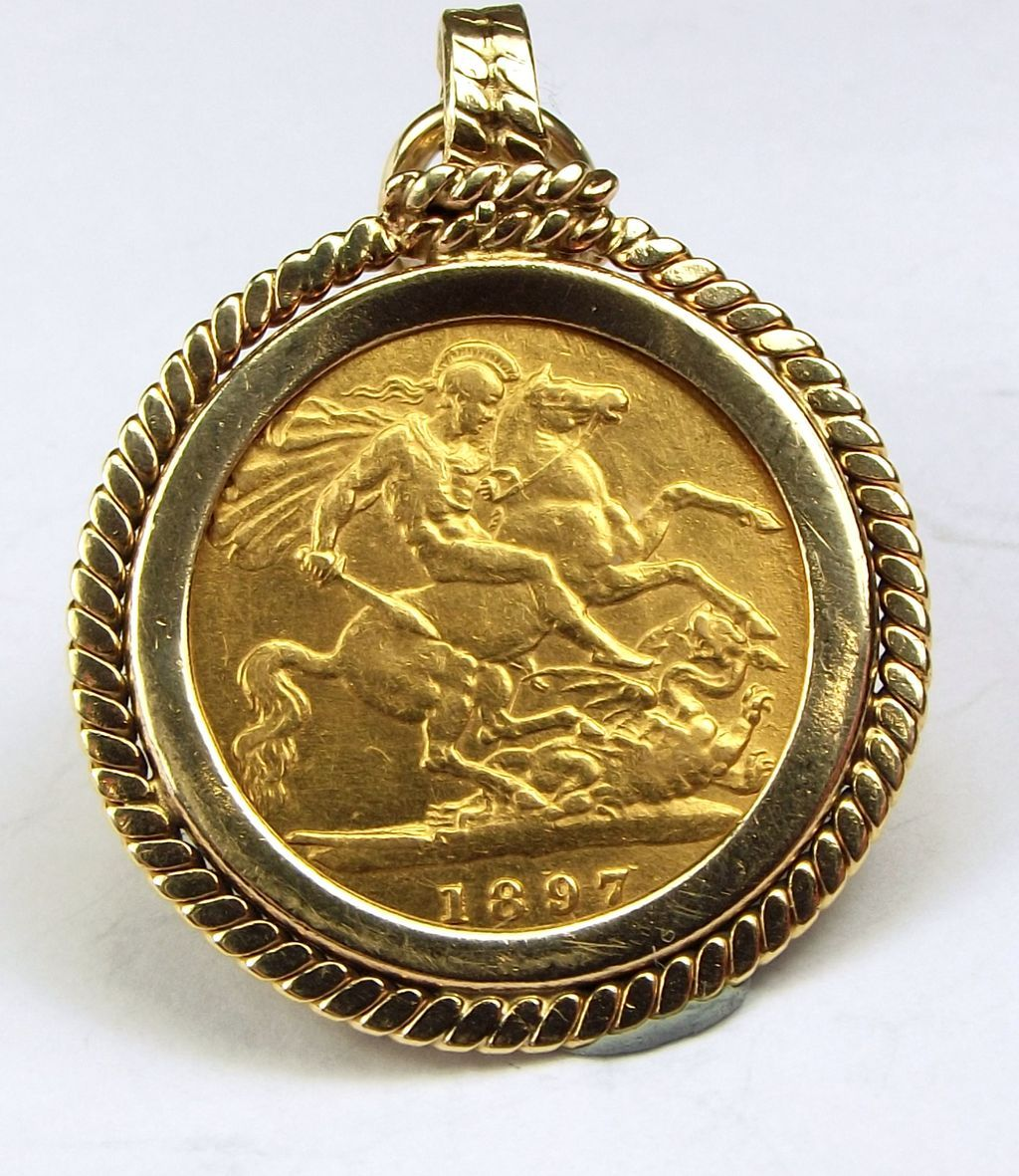 Antique 22ct gold half sovereign in 9ct gold mount charmpendantfob antique 22ct gold half sovereign in 9ct gold mount charmpendantfob from m4gso aloadofball Images
