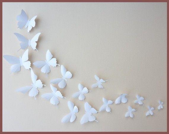 3d Wall Butterflies 30 White Butterfly Silhouettes Nursery
