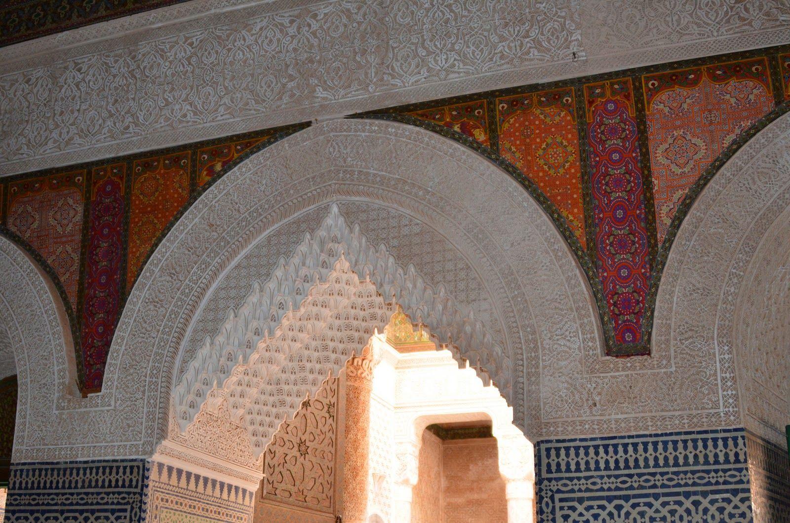 Zelij (mosaic), plaster, fabric panels. Telouet, Morocco. (Photo by Laini Taylor)