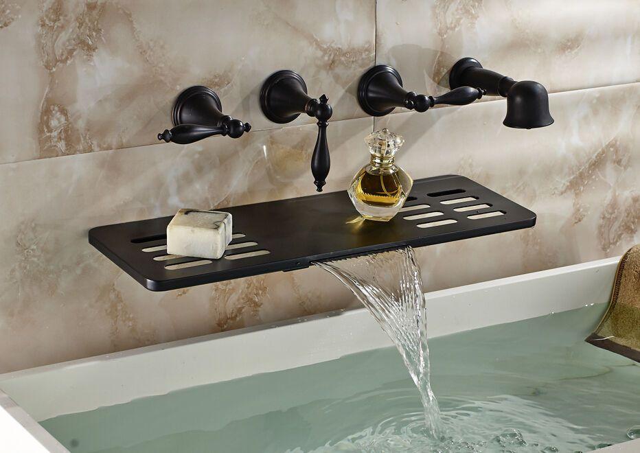 Oil Rubbed Bronze Wall Mounted Waterfall Tub Faucet Hand Shower W Shelf Sto Waterfall Tub Faucet Oil Rubbed Bronze Bathroom Faucets Bathroom Faucets Waterfall