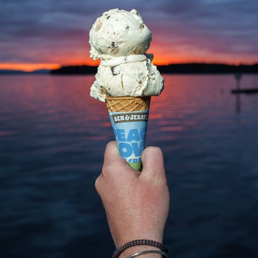 It's a scorching 90° #BTV summer day, this picture of a cone at the #LakeChamplain waterfront looks like a great way to cool off! Picture from Ben  Jerry's