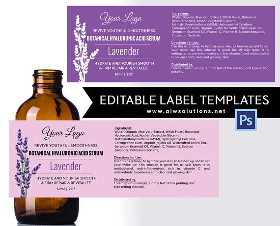 Lavender Label Template Product Skin Care Serums Hair Shampoo Conditio