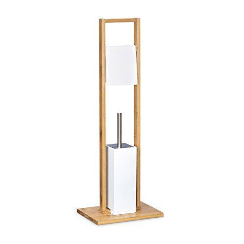 Relaxdays Stand WC Garnitur Bambus HBT 82 X 30,5 X 21 Cm Toilettenb