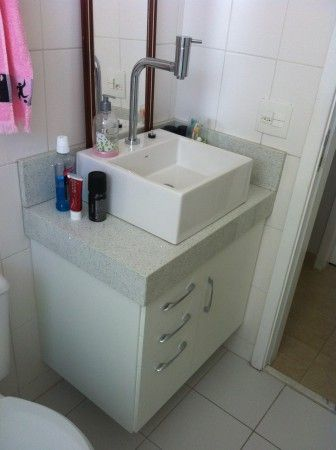 Gabinete banheiro lavabo cuba sobrepor branco mdf ultra for Gabinete para lavabo